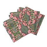 Roostery Flamingo Organic Sateen Dinner Napkins Flamingo Dance by Ravynscache Set of 4 Cotton Dinner Napkins Made