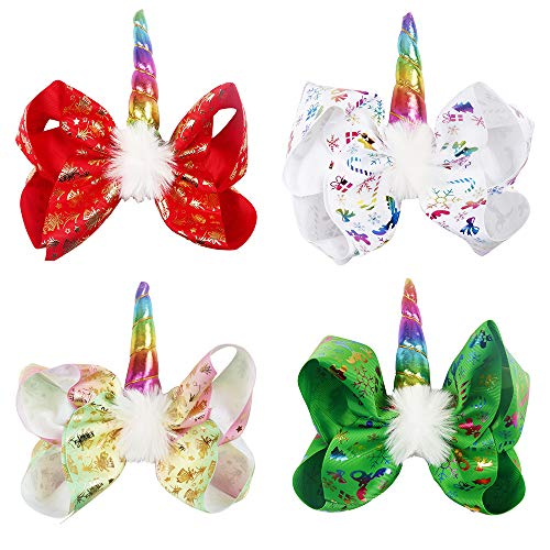 Oaoleer 7 inch Unicorn Cheer Bows Girls Christmas Hair Bows...