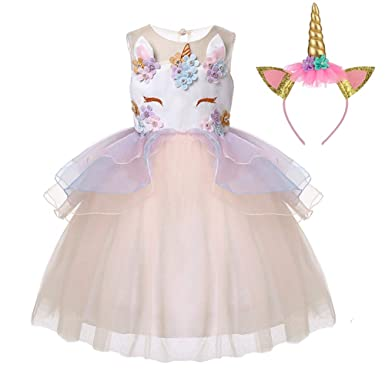 192210a21ff40 LZH Girls Unicorn Flower Dress Costume Cosplay Princess Birthday Party  Dresses Up: Amazon.co.uk: Clothing
