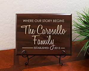 """Personalized Sign with Family Name, Year Established and Quote """"Where our story begins"""" Decorative Carved Wood Sign Quote, Faux Cherry"""