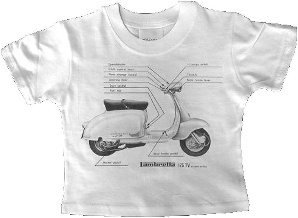 Lambretta 175 TV BW para Patinete Vintage T-Camiseta de Manga Corta Diseño de bebé: Amazon.es: Ropa y accesorios