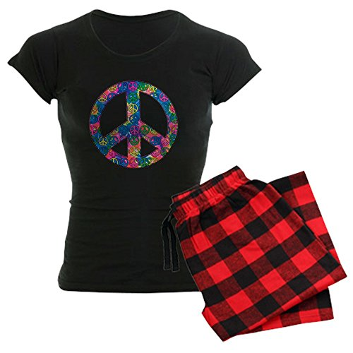 (Royal Lion Women's Dark Pajamas Peace Symbols Inside Tye Dye Symbol - Red Plaid, 2X)