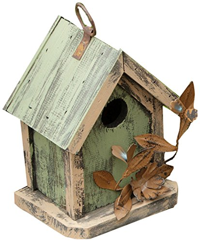Flower Birdhouse - Your Heart's Delight Tin Flowers Birdhouse, 5 by 7 by 4-Inch, Sage/Cream