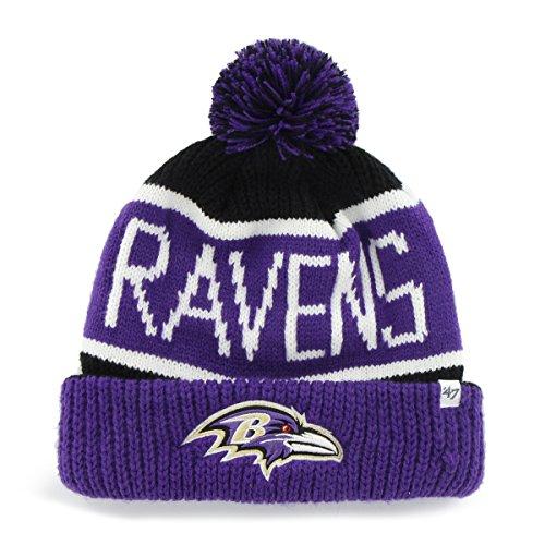 (Baltimore Ravens Black Calgary Cuffed Pom Knit Beanie Hat / Cap)