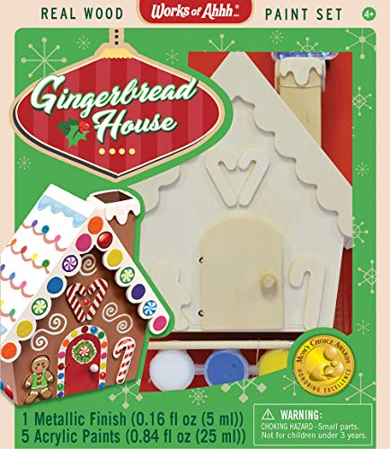 MasterPieces Works of Ahhh Real Wood Christmas Large Acrylic Paint Kits, Holiday Gingerbread House, Mom's Choice Award, for Ages 4+ ()