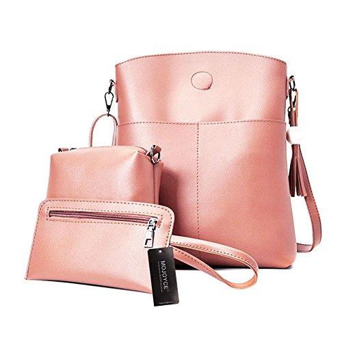 Crossbody Card Handbags Tote Purse Wooden Tassel 3 Domybest Pink Pcs Bag Beads Bags Coin Set Women RPSqzw