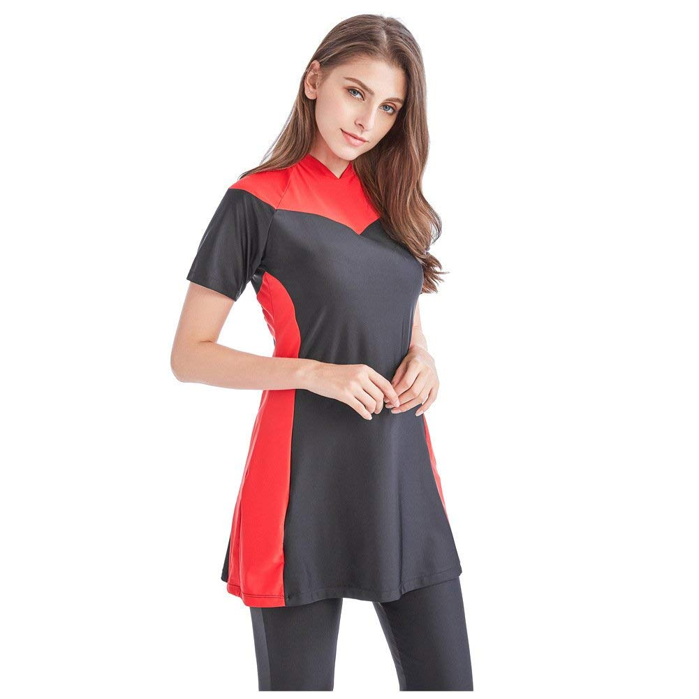 As shown President of The Muslim Swimwear Swimsuit Swimsuit ShortSleeved TConservative Islamic Women's Beach, The Red Series L (color   As Shown, Size   One Size)