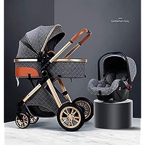 DEALBUHK 2021 Nouveau bébé Poussette Haut Paysage 3 en 1 Poussette Luxe bébé Poussette Renforcée (Color : D)