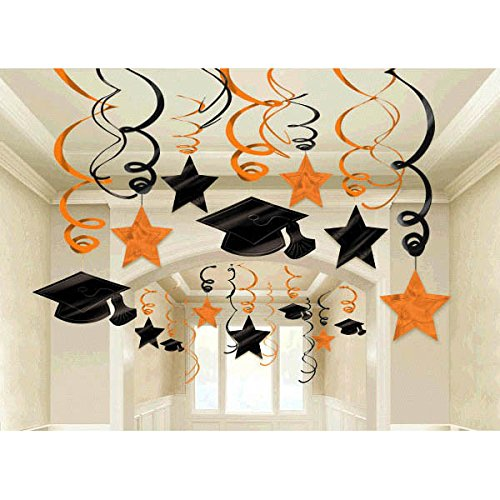 School Colors Graduation Party Swirls With Mortarboards and Diplomas Ceiling Decorations Mega Value Pack, Orange and Black, Plastic, Pack of 30 (Black And Yellow Graduation Decorations)