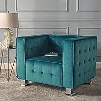 Bunta Tufted Modern Deco Dark Teal New Velvet Arm Chair