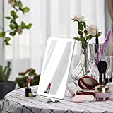 Dimmable LED Lighted Makeup Mirror, Flowerplus Portable Rechargeable Touch Screen Dimming LED Light Desk Lamp Dressing Table Countertop Bathroom Vanity Cosmetic Rectangle Mirror with Lights
