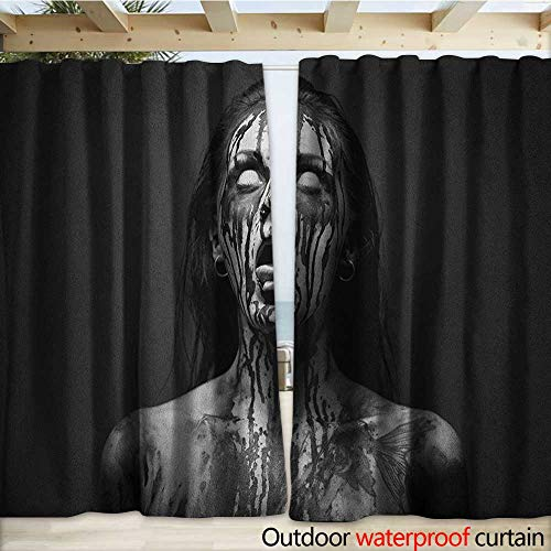 warmfamily Zombie Outdoor Door Curtain Unusual Scream Monster Woman with Empty Eyes Looking Up Horror Picture Design W108 x L108 Black and White