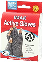 IMAK Compression Active Arthritis Gloves, Original with Arthritis Foundation Ease of Use Seal, Medium