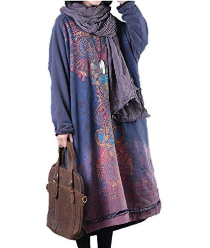 YESNO JDL Women Casual Loose Sweatshirts Pullover Floral Dress Distressed Hi-Low Hem Bat-Wing Sleeve Big Pocket