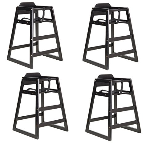 Lancaster Black Finish Stacking Restaurant Wood High Chair 4 PACK solid wood stacking - High Stacking Restaurant Chair