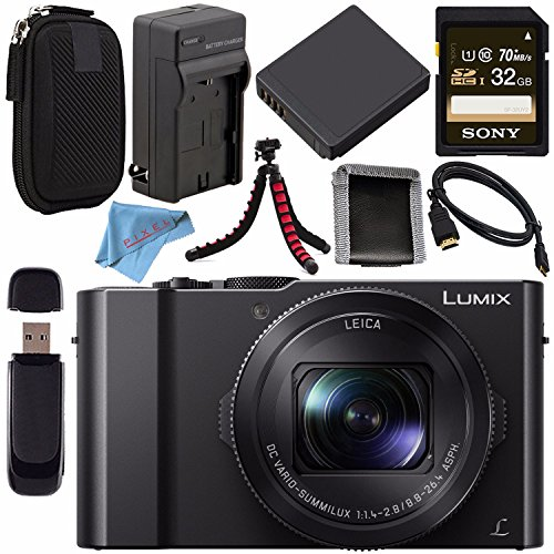Panasonic Lumix DMC-LX10 DMC-LX10K Digital Camera + DMW-BLH7 Lithium Ion Battery + Charger + Sony 32GB SDHC Card + Case + Flexible Tripod + HDMI Cable + Memory Card Wallet + Fibercloth Bundle