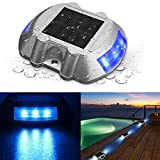 SOLMORE Solar Dock Light, LED Deck Light Solar Lights Path Road Dock Lights Waterproof Outdoor Warning Step Lights for Driveway Garden Walkway Backyard Fence Patio Blue (1Pcs)