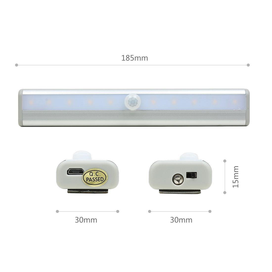 eDealMax PIR recargable con sensor de movimiento de luz LED portátil de movimiento inalámbrico Sensor de luz de la noche de Pasillo Escaleras Armario Baño ...
