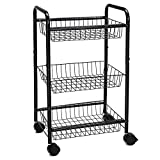 SONGMICS 3-Tire Metal Rolling Cart On Wheels with Baskets, Lockable Utility Trolley with Handles for Kitchen Bathroom Closet, Storage with Removable Shelves, UBSC03BK