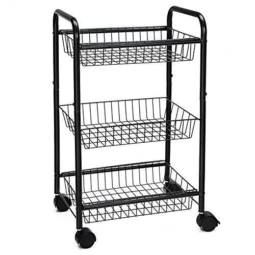 Songmics 3 Tire Metal Rolling Cart On Wheels With Baskets Lockable Utility Trolley With Handles For Kitchen Bathroom Closet Storage With Removable