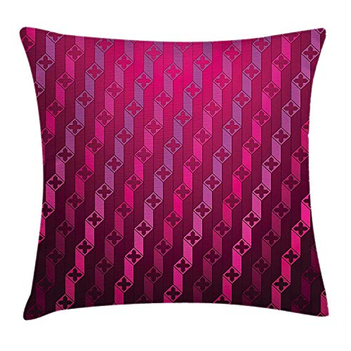 Magenta Decor Throw Pillow Cushion Cover, Abstract Stripe Psychedelic Motif Fashion Gradient Retro Structured Grid Art, Decorative Square Accent Pillow Case, 18 X 18 Inches, Taffy ()
