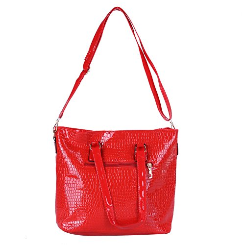 Leather Women Messenger Red PU Purse Handbag Clutch Sets Bag Shoulder Bags Bag Crossbody 6Pcs Domybest Hwq544