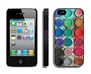 AWU DIYCustom Apple Iphone 4s Black Case Durable Soft Silicone TPU Watercolor Sets With Brushes Art Phone Cover Accessories for Iphone 4