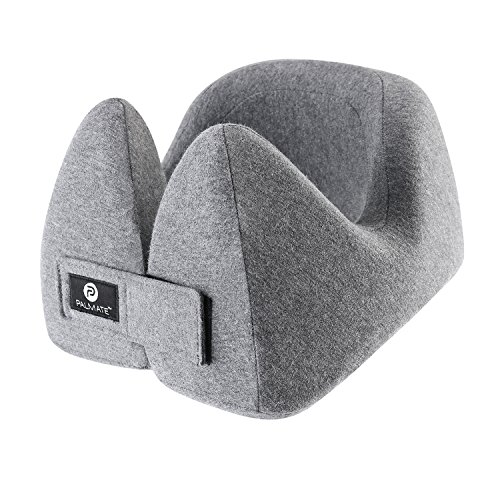 PALMATE Travel Pillow Smart Head Holders Built in Cool Vent - Headphone Friendly - Ergonomic Airplane Neck Pillow Memory Foam, Gray