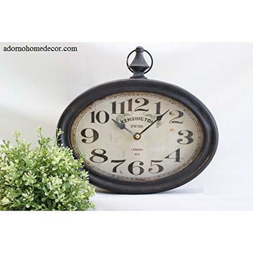 Small Oval Metal Wall Clock Vintage Numbers Chic French Unique Rustic Shabby