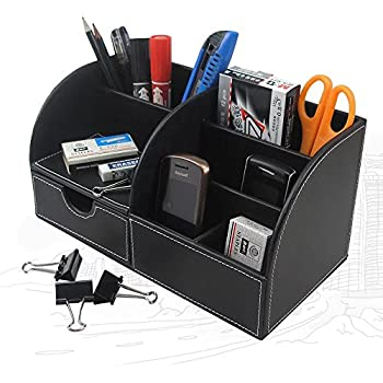 UnionBasic Multifunctional PU Leather Office Desk Organizer Business Card/Pen/Pencil/Mobile Phone/Stationery Holder Storage Box (Black)