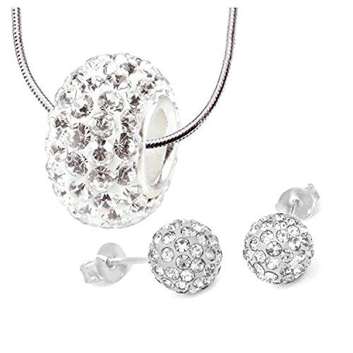 BodyJ4You Charm Set 3PCS Necklace Stud Earrings 6mm Crystal Ball,White Crystal Bead (Crystal Bead Ball)