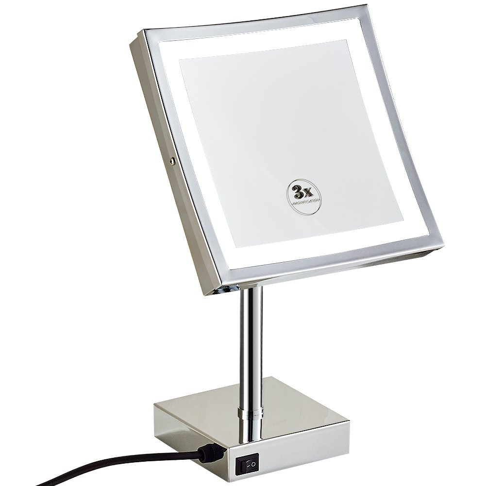 GURUN 8.5 inch Square Makeup Mirror with Lights Led 3x Magnification,Chrome Finish M2205D(8.5in,3)