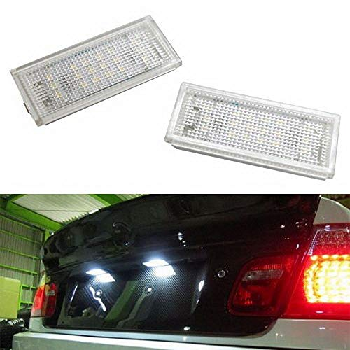 iJDMTOY OEM-Fit 3W Full LED License Plate Light Kit For 2004-06 BMW E46 325ci 330ci M3 2-Coor Coupe, Powered by 18-SMD Xenon White LED ()