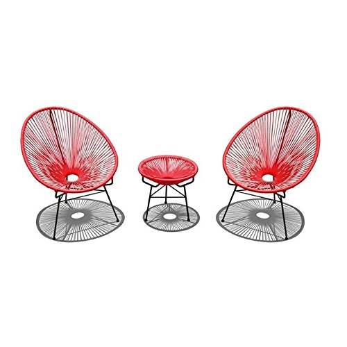 Cheap Harmonia Living HL-ACA-3CS-CA-BL 3 Piece Acapulco Chat Set, Candy Apple Red/Black