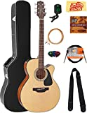 Takamine GN15CENAT NEX Cutaway Acoustic-Electric Guitar - Natural Gloss Bundle with Hard Case, Cable, Tuner, Strap, Strings, Picks, Austin Bazaar Instructional DVD, Polishing Cloth