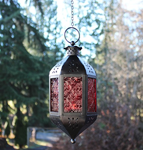 Red Glass Hanging Moroccan Candle Lantern With Chain New