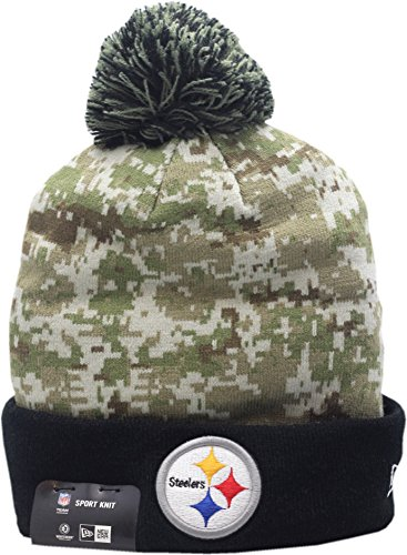 Pittsburgh Steelers New Era 2015 Salute To Service On-Field Pom Knit Hat-10371 (New Era Salute To Service compare prices)