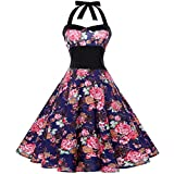 Appoi Womens Summer Sleeveless Dresses Bow Vintage Flower Print Party Dance Dress (Blue, M)