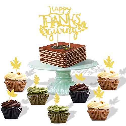 Happy Thanksgiving Glitter Cupcake Topper Kit- Turkey, Maple Leave,Thankful Cake Toppers, Thanksgiving Party Dessert Decorations, 25 Count