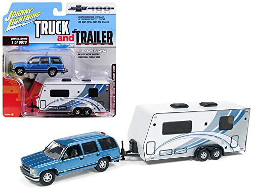 Johnny Lightning 1:64 Truck and Trailer - Chevrolet Tahoe with Camper Die Cast Vehicle, Blue/White (1 64 Rv Trailer)