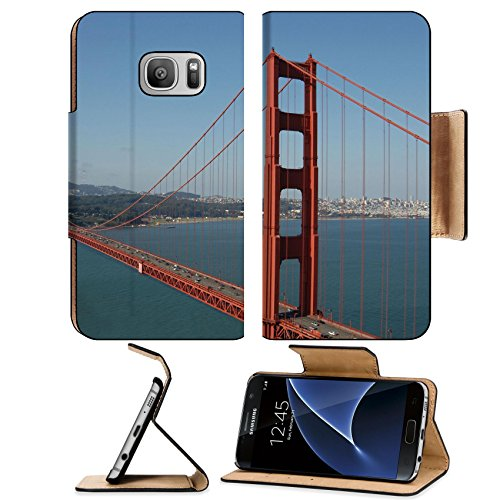Liili Premium Samsung Galaxy S7 Flip Pu Leather Wallet Case IMAGE ID: 639404 Golden Gate from Marin Headlands San Francisco - Headlands Glass