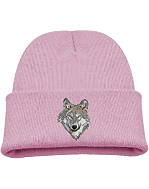 Wolf Face Pattern Kid's Hats Winter Funny Soft Knit Beanie Cap, Unisex