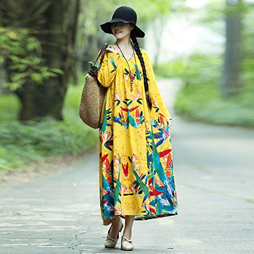 Style De Longue Caftan Robe Paisley Manches Longues Et Pour Merical À Imprimée Jaune Femmes oQCBxWdre