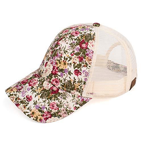 C.C Hatsandscarf Exclusives Flower Pattern Mesh Trucker Baseball Cap (Abstract-Ivory.)