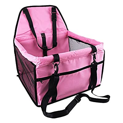 OAKZIP Pet Reinforce Car Booster Seat for Dog Cat Portable and Breathable Bag with Seat Belt Dog Carrier Safety Stable for Travel Look Out,with Clip on Leash and Storage Package