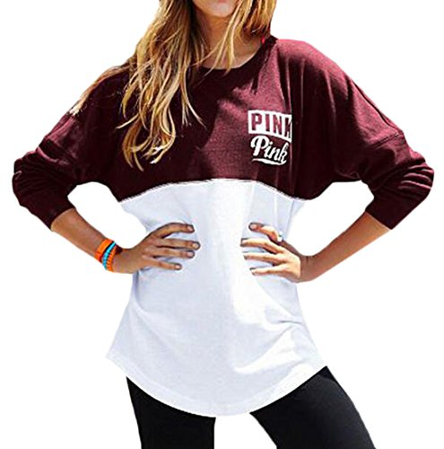 HANA+DORA Women Mix Color Long Sleeves Letters Printed Sweatshirts Red M
