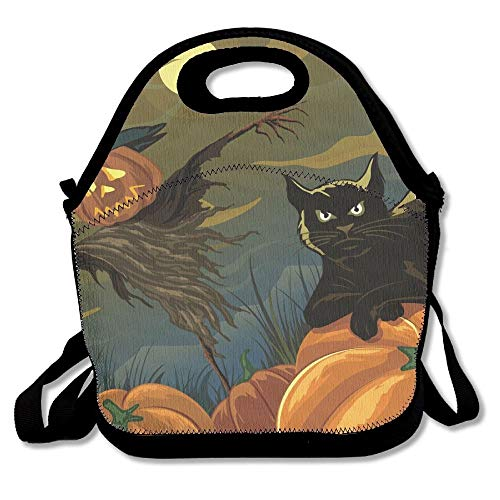 Halloween Pumpkin Scarecrow Black Cat Lunch Bags Insulated Travel Picnic Lunchbox Tote Handbag With Shoulder Strap For Women Teens Girls Kids Adults -