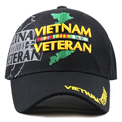 - THE HAT DEPOT 1100 Official Licensed Vietnam Veteran Shadow 3D Baseball Cap (Black Vietnam)