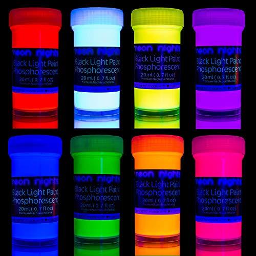 neon nights Glow in The Dark Paint   Luminescent   Phosphorescent   Self-Luminous Paints - Set of 8