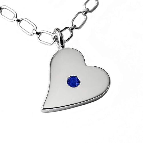 Blue Sapphire Gemstone 925 Sterling Solid Silver Heart Pendant Handmade Jewelry